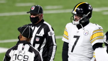 ORCHARD PARK, NEW YORK - DECEMBER 13: Ben Roethlisberger #7 of the Pittsburgh Steelers talks to officials after he threw an interception against the Buffalo Bills during the fourth quarter in the game at Bills Stadium on December 13, 2020 in Orchard Park, New York. (Photo by Bryan M. Bennett/Getty Images)