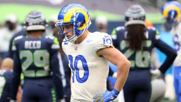 SEATTLE, WASHINGTON - JANUARY 09: Cooper Kupp #10 of the Los Angeles Rams reacts in the first quarter against the Seattle Seahawks during the NFC Wild Card Playoff game at Lumen Field on January 09, 2021 in Seattle, Washington. (Photo by Abbie Parr/Getty Images)