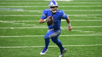 Dec 13, 2020; Detroit, Michigan, USA; Detroit Lions quarterback Chase Daniel (4) runs the ball during the fourth quarter against the Green Bay Packers at Ford Field. Mandatory Credit: Tim Fuller-USA TODAY Sports