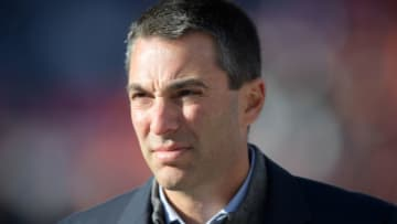 Dec 1, 2019; Denver, CO, USA; Los Angeles Chargers general manager Tom Telesco watches from the sidelines during the game against the Denver Broncos at Empower Field at Mile High. Mandatory Credit: Kirby Lee-USA TODAY Sports