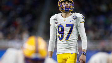 Dec 26, 2019; Detroit, Michigan, USA; Pittsburgh Panthers place kicker Alex Kessman (97) looks up before a play during the second quarter against the Eastern Michigan Eagles at Ford Field. Mandatory Credit: Raj Mehta-USA TODAY Sports