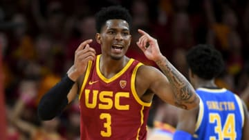 LOS ANGELES, CA - MARCH 07: Elijah Weaver #3 of the USC Trojans looks at the bench for the play call in the game against the UCLA Bruins at Galen Center on March 7, 2020 in Los Angeles, California. (Photo by Jayne Kamin-Oncea/Getty Images)