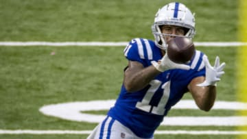 INDIANAPOLIS, IN - SEPTEMBER 27: Michael Pittman #11 of the Indianapolis Colts catches a pass during the fourth quarter of the game against the New York Jets at Lucas Oil Stadium on September 27, 2020 in Indianapolis, Indiana. (Photo by Bobby Ellis/Getty Images)