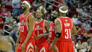 Mar 27, 2015; Houston, TX, USA; Houston Rockets guard James Harden (13) celebrates his three point shot with forward Trevor Ariza (1) and guard Corey Brewer (33) and guard Jason Terry (31) against the Minnesota Timberwolves in the second half at Toyota Center. Rockets won 120 to 110 .Mandatory Credit: Thomas B. Shea-USA TODAY Sports