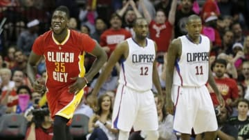 Mar 16, 2016; Houston, TX, USA; Houston Rockets forward Montrezl Harrell (35) reacts after making a basket against the Los Angeles Clippers in the second half at Toyota Center. The Clippers won 122-106. Mandatory Credit: Thomas B. Shea-USA TODAY Sports