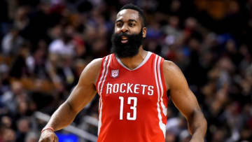 Jan 8, 2017; Toronto, Ontario, CAN; Houston Rockets guard James Harden (13) reacts after sinking a basket during a 129-122 win over Toronto Raptors at Air Canada Centre. Mandatory Credit: Dan Hamilton-USA TODAY Sports