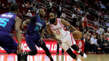 Jan 10, 2017; Houston, TX, USA; Houston Rockets guard James Harden (13) drives past Charlotte Hornets forward Michael Kidd-Gilchrist (14) during the first quarter at Toyota Center. Mandatory Credit: Erik Williams-USA TODAY Sports