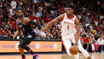 MIAMI, FL - DECEMBER 20: Danuel House Jr. #4 of the Houston Rockets drives to the basket against the Miami Heat at American Airlines Arena on December 20, 2018 in Miami, Florida. NOTE TO USER: User expressly acknowledges and agrees that, by downloading and or using this photograph, User is consenting to the terms and conditions of the Getty Images License Agreement. (Photo by Michael Reaves/Getty Images)