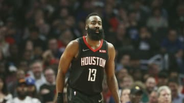 LOS ANGELES, CA - APRIL 3: James Harden #13 of the Houston Rockets looks on during the game against the LA Clippers on April 3, 2019 at STAPLES Center in Los Angeles, California. NOTE TO USER: User expressly acknowledges and agrees that, by downloading and/or using this Photograph, user is consenting to the terms and conditions of the Getty Images License Agreement. Mandatory Copyright Notice: Copyright 2019 NBAE (Photo by Chris Elise/NBAE via Getty Images)