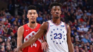 Danny Green #14 of the Toronto Raptors and Jimmy Butler #23 of the Philadelphia 76ers (Photo by Jesse D. Garrabrant/NBAE via Getty Images)