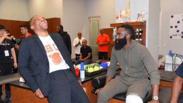 Russell Westbrook #0 of the Houston Rockets talks with James Harden #13 of the Houston Rockets (Photo by Bill Baptist/NBAE via Getty Images)