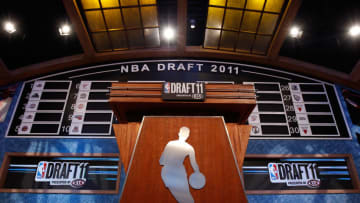 NBA draft board and podium (Photo by Mike Stobe/Getty Images)