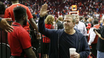 HOUSTON, TX - OCTOBER 26: Owner Tilman Fertitta of the Houston Rockets waves to the crowd after the game against the New Orleans Pelicans at Toyota Center on October 26, 2019 in Houston, Texas. NOTE TO USER: User expressly acknowledges and agrees that, by downloading and or using this photograph, User is consenting to the terms and conditions of the Getty Images License Agreement. (Photo by Tim Warner/Getty Images)