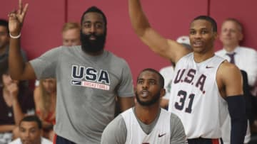 Thunder guard Chris Paul and Rockets guards James Harden and Russell Westbrook of the USA National Team (Photo by Adam Pantozzi/NBAE via Getty Images)
