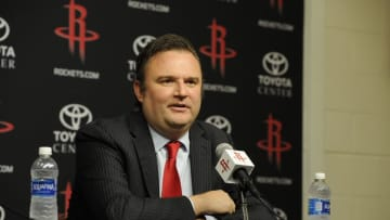 Houston Rockets GM Daryl Morey is interviewed as the Rockets announce D'Antoni as their new head coach (Photo by Bill Baptist/NBAE via Getty Images)