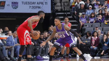 SACRAMENTO, CA - APRIL 9: James Harden #13 of the Houston Rockets handles the ball against Ben McLemore #23 of the Sacramento Kings on April 9, 2017 at Golden 1 Center in Sacramento, California. NOTE TO USER: User expressly acknowledges and agrees that, by downloading and or using this photograph, User is consenting to the terms and conditions of the Getty Images Agreement. Mandatory Copyright Notice: Copyright 2017 NBAE (Photo by Rocky Widner/NBAE via Getty Images)