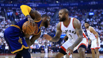 TORONTO, ON - MAY 07: P.J. Tucker #2 of the Toronto Raptors defends as Lebron James #23 of the Cleveland Cavaliers dribbles the ball in the first half of Game Four of the Eastern Conference Semifinals during the 2017 NBA Playoffs at Air Canada Centre on May 7, 2017 in Toronto, Canada. (Photo by Vaughn Ridley/Getty Images)