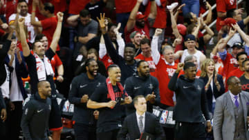 HOUSTON, TX - MAY 24: The Houston Rockets bench reacts against the Golden State Warriors late in the fourth quarter of Game Five of the Western Conference Finals of the 2018 NBA Playoffs at Toyota Center on May 24, 2018 in Houston, Texas. NOTE TO USER: User expressly acknowledges and agrees that, by downloading and or using this photograph, User is consenting to the terms and conditions of the Getty Images License Agreement. (Photo by Bob Levey/Getty Images)