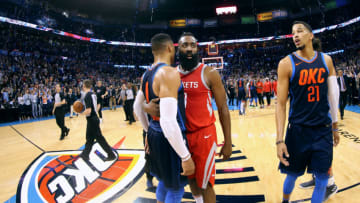 Russell Westbrook #0 of the Oklahoma City Thunder and James Harden #13 of the Houston Rockets Photo by Layne Murdoch Sr./NBAE via Getty Images
