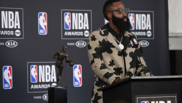 SANTA MONICA, CA - JUNE 25: James Harden #13 of the Houston Rockets talks to the media during a press conference after winning the Most Valuable Player Award at the NBA Awards Show on June 25, 2018 at the Barker Hangar in Santa Monica, California. NOTE TO USER: User expressly acknowledges and agrees that, by downloading and or using this Photograph, user is consenting to the terms and conditions of the Getty Images License Agreement. Mandatory Copyright Notice: Copyright 2018 NBAE (Photo by Will Navarro/NBAE via Getty Images)