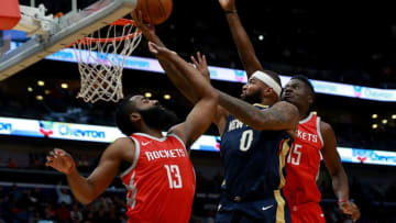 NEW ORLEANS, LA - JANUARY 26: DeMarcus Cousins #0 of the New Orleans Pelicans shoots over James Harden #13 of the Houston Rockets during the first half at the Smoothie King Center on January 26, 2018 in New Orleans, Louisiana. NOTE TO USER: User expressly acknowledges and agrees that, by downloading and or using this photograph, User is consenting to the terms and conditions of the Getty Images License Agreement. (Photo by Sean Gardner/Getty Images)