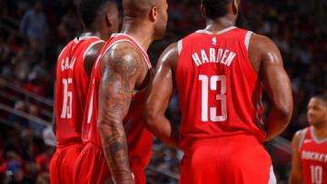 Houston Rockets Clint Capela P.J. Tucker James Harden (Photo by Bill Baptist/NBAE via Getty Images)
