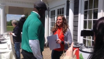 Danielle McCartan (@coachmccartan) interviews David Harris at his annual golf outing to raise money for the Give the Kids Hope Foundation. Photo Credit: Give the Kids Hope Foundation.