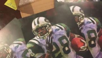 Photo of Duane Tomaszewski's Curtis Martin artwork. Used by permission for TheJetPress.com