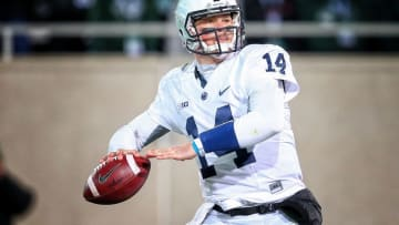 Nov 28, 2015; East Lansing, MI, USA; Penn State Nittany Lions quarterback Christian Hackenberg (14) drops back to pass the ball during the 2nd half of a game against the Michigan State Spartans at Spartan Stadium. Mandatory Credit: Mike Carter-USA TODAY Sports