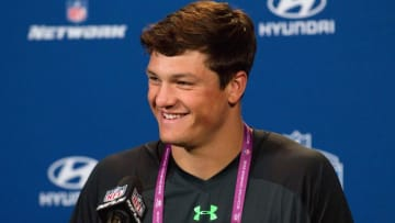 Feb 25, 2016; Indianapolis, IN, USA; Penn State quarterback Christian Hackenberg speaks to the media during the 2016 NFL Scouting Combine at Lucas Oil Stadium. Mandatory Credit: Trevor Ruszkowski-USA TODAY Sports