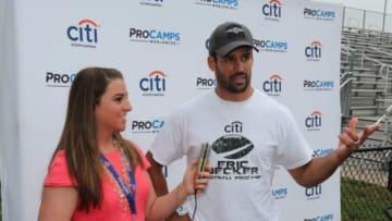 Danielle McCartan interviews Eric Decker at ProCamp, Courtesy of Long Island Image