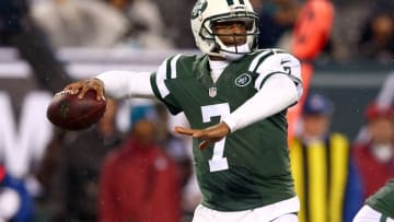 Dec 1, 2014; East Rutherford, NJ, USA; New York Jets quarterback Geno Smith (7) drops back to pass against the Miami Dolphins during the first quarter of a game at MetLife Stadium. Mandatory Credit: Brad Penner-USA TODAY Sports