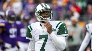 Dec 7, 2014; Minneapolis, MN, USA; New York Jets quarterback Geno Smith (7) looks on during the third quarter against the Minnesota Vikings at TCF Bank Stadium. The Vikings defeated the Jets 30-24 in overtime. Mandatory Credit: Brace Hemmelgarn-USA TODAY Sports
