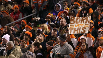 Nov 30, 2015; Cleveland, OH, USA; Cleveland Browns fans cheer against the Baltimore Ravens at FirstEnergy Stadium. The Ravens won 33-27. Mandatory Credit: Aaron Doster-USA TODAY Sports