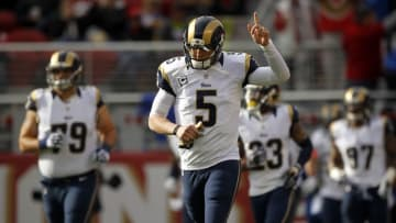 Jan 3, 2016; Santa Clara, CA, USA; St. Louis Rams quarterback Nick Foles (5) jogs onto the field before the start of the game against the San Francisco 49ers at Levi's Stadium. Mandatory Credit: Cary Edmondson-USA TODAY Sports