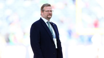 Dec 6, 2015; East Rutherford, NJ, USA; New York Jets general manager Mike Maccagnan before a game against the New York Giants at MetLife Stadium. Mandatory Credit: Brad Penner-USA TODAY Sports