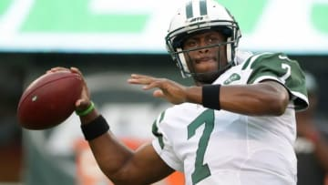 Aug 11, 2016; East Rutherford, NJ, USA; New York Jets quarterback Geno Smith (7) throws a pass before the preseason game against the Jacksonville Jaguars at MetLife Stadium. Mandatory Credit: Vincent Carchietta-USA TODAY Sports