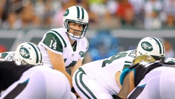 Aug 11, 2016; East Rutherford, NJ, USA; New York Jets quarterback Ryan Fitzpatrick (14) at the line against the Jacksonville Jaguars during the first quarter of a preseason game at MetLife Stadium. Mandatory Credit: Brad Penner-USA TODAY Sports