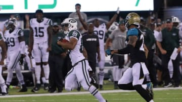 Aug 11, 2016; East Rutherford, NJ, USA; New York Jets wide receiver Jalin Marshall (89) returns a kickoff during the second half of the preseason game against the Jacksonville Jaguars at MetLife Stadium. Mandatory Credit: Vincent Carchietta-USA TODAY Sports