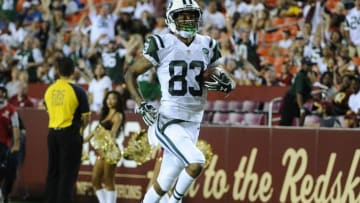 Aug 19, 2016; Landover, MD, USA; New York Jets wide receiver Robby Anderson (83) scores a touchdown against the Washington Redskins during the second half at FedEx Field. Mandatory Credit: Brad Mills-USA TODAY Sports