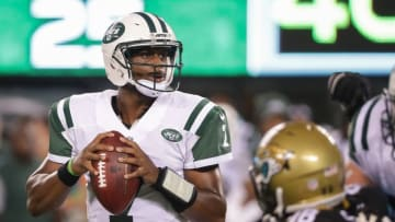 Aug 11, 2016; East Rutherford, NJ, USA; New York Jets quarterback Geno Smith (7) drops back to pass during the second half of the preseason game against the Jacksonville Jaguars at MetLife Stadium. The Jets won, 17-23. Mandatory Credit: Vincent Carchietta-USA TODAY Sports