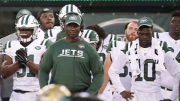 Aug 11, 2016; East Rutherford, NJ, USA; New York Jets head coach Todd Bowles during the 1st half of the preseason game against the Jacksonville Jaguars at MetLife Stadium. The Jets won, 17-13. Mandatory Credit: Vincent Carchietta-USA TODAY Sports