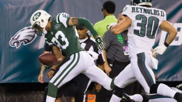 Sep 1, 2016; Philadelphia, PA, USA; New York Jets wide receiver Robby Anderson (83) scores against the Philadelphia Eagles during the first quarter at Lincoln Financial Field. Mandatory Credit: Bill Streicher-USA TODAY Sports