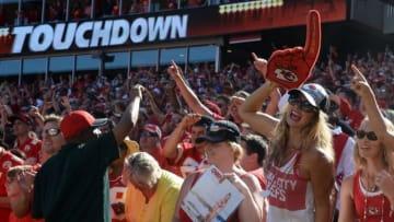 Sep 11, 2016; Kansas City, MO, USA; Kansas City Chiefs fans celebrate after the game against the San Diego Chargers at Arrowhead Stadium. Kansas City won 33-27. Mandatory Credit: John Rieger-USA TODAY Sports