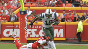 Sep 25, 2016; Kansas City, MO, USA; New York Jets wide receiver Brandon Marshall (15) runs the ball as Kansas City Chiefs free safety Ron Parker (38) makes the tackle during the second half at Arrowhead Stadium. The Chiefs won 24-3. Mandatory Credit: Denny Medley-USA TODAY Sports