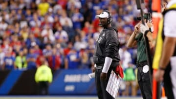 Sep 15, 2016; Orchard Park, NY, USA; New York Jets head coach Todd Bowles on the sideline during the game against the Buffalo Bills at New Era Field. Mandatory Credit: Kevin Hoffman-USA TODAY Sports