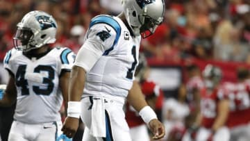 Oct 2, 2016; Atlanta, GA, USA; Carolina Panthers quarterback Cam Newton (1) reacts after a play in the third quarter of their game against the Atlanta Falcons at the Georgia Dome. The Falcons won 48-33. Mandatory Credit: Jason Getz-USA TODAY Sports