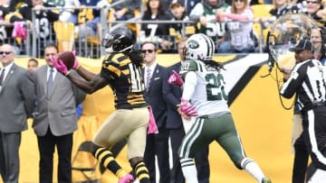 Oct 9, 2016; Pittsburgh, PA, USA; Pittsburgh Steelers wide receiver Sammie Coates (14) catches a pass for a touchdown as New York Jets cornerback Marcus Williams (20) pursues during the first quarter at Heinz Field against the New York Jets. Mandatory Credit: Mark Konezny-USA TODAY Sports