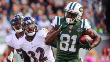 Oct 23, 2016; East Rutherford, NJ, USA; New York Jets wide receiver Quincy Enunwa (81) runs for a touchdown after catching a pass from Geno Smith (not shown) during the first half of their game against the Baltimore Ravens at MetLife Stadium. Mandatory Credit: Ed Mulholland-USA TODAY Sports