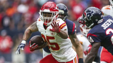 Sep 18, 2016; Houston, TX, USA; Kansas City Chiefs running back Charcandrick West (35) runs with the ball during the second quarter against the Houston Texans at NRG Stadium. Mandatory Credit: Troy Taormina-USA TODAY Sports